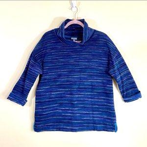 T by Talbots Blue Hyperstripe Turtleneck Sweater